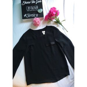 Black loose business fit blouse
